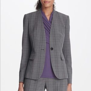 DKNY Women's Plaid Menswear Suit Jacket Blazer